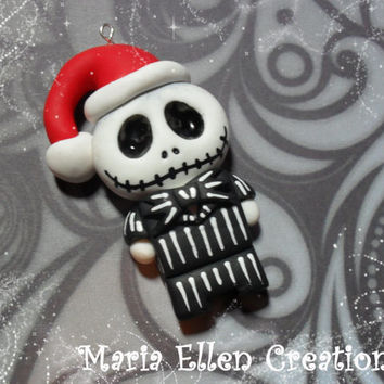 Jack Skellington The Nightmare Before Christmas - polymer clay charm - Jack Skellington keyring - The Nightmare Before Christmas Jewelry