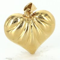 Vintage 14 Karat Yellow Gold Hollow Puffed Heart Pendant Fine Estate Jewelry