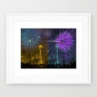 Seattle Space Needle Fireworks Framed Art Print by Christine Aka Stine1