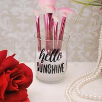 Makeup Organizer, Makeup Brush Holder, Brush Holder, Desk Organizer, Pen Holder, Pencil Holder - Hello Sunshine