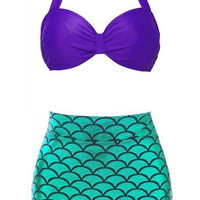 Purple and Green Halter Fish Scale Pattern Bikini