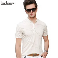 Polo Shirt Men Printed Slim Fit Men Polo Shirt Short Sleeve Street Style Summer Mens Clothing