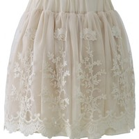 Creamy Planting Lace Tulle Skirt
