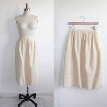 Vintage 60s Cream Wool Full Aline Skirt with Fringe Hem | small