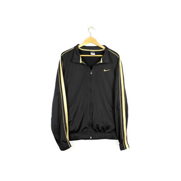 NIKE black + gold track jacket - swoosh logo - large