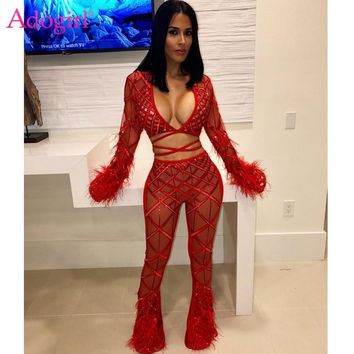 e7b136810b0374 Adogirl Feather Lace Sequins Sheer Mesh Sexy Club Two Piece Set