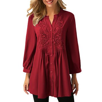 Wine Lace and Pleated Detail Button up Blouse