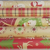 125 sqft Christmas Print Vintage Kraft Wrapping Paper, 5 30 in X 13.33 Ft. Rolls