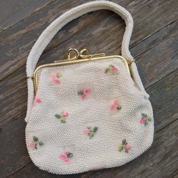 Vintage floral bag, Beaded purse. Free shipping