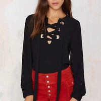 In A Bind Lace-Up Top - Black