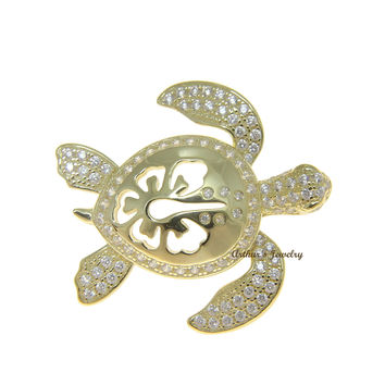 YELLOW GOLD SOLID 925 SILVER HAWAIIAN HIBISCUS FLOWER TURTLE SLIDE PENDANT CZ
