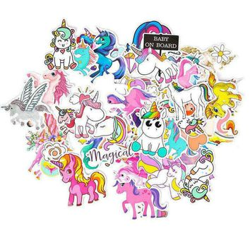 2018 94pcs Cartoon Cute Unicorn Car Sticker Stickers for Laptop Bicycles Phone Luggage Home Decor Anime DIY Decals Sticker