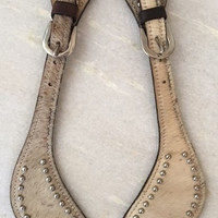 Pair of Handcrafted Genuine Leather and Cowhide Western Studded Spur Straps