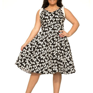 Plus size 60's Retro Vinatge Pinup Plus London Mod Black White Bow Print Party Flare Dress