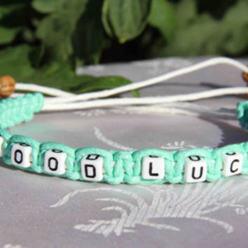 personalized wish bracelet good luck bracelet words charm bracelet birthday gift friendship bridesmaids gift