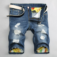 Summer Pants Ripped Holes Denim Slim Jeans [6541763523]