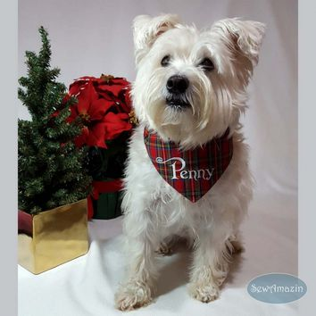 Red Royal Stewart Tartan Plaid Dog Bandana