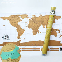 World Scratch Map/ Around the world map wall poster home decor Travel map recording / Retro design paper Novelty Gift 82* 58cm