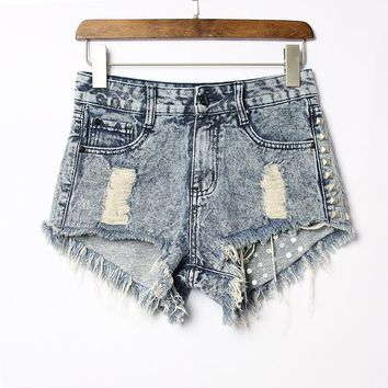 Vintage Tasseled Ripped High Jeans