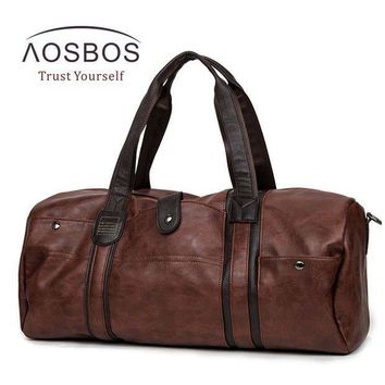 ICIK7N3 Aosbos PU Leather Gym Bag Large capacity Sports Bags for Women Men  Fitness Training Bag Outdoor Travel  Duffel  Storage Handbag
