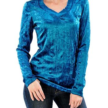 Curvy Velour V-Neck Top, Teal