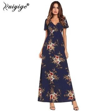 Ruiyige 2018 Women Chiffon Dress Floral Print Sexy V-neck Floor-length Maxi Dress Summer Casual Party Elegant Boho Bench Vestido