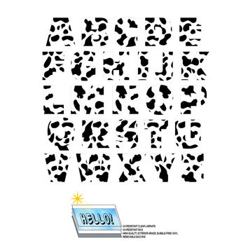 Alphabet Letters Uppercase Cow Print Animals SLAP-STICKZ TM Laminated Wall Stickers