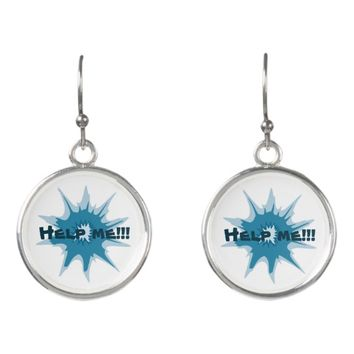 Blue bullet hole. Add your text. Earrings