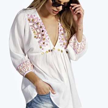 Daisy Embroidered and Coin Trim Tunic Top
