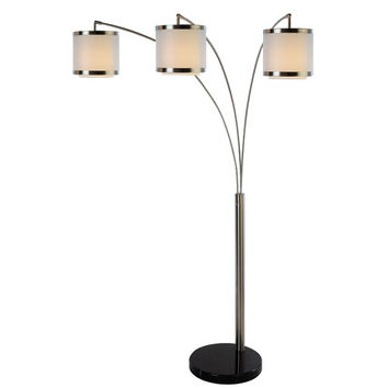 Trend TFA9307 Lux Arc Floor Lamp with Sheer Snow/Shantung Two Tier Shade and Black Marble Base
