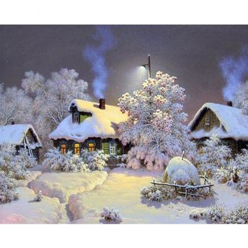 Winter Snow House Landscape DIY Painting By Numbers Kits Coloring Paint By Numbers Modern Wall Art Decor 1 Panel Picture Gift