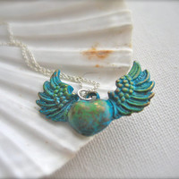 Heart pendant,heart necklace, heart jewelry,wings necklace, for her