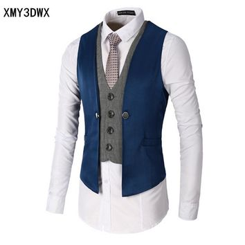 2017 New Dress Vests For Men Slim Fit Mens Suit Vest Male Waistcoat Gilet Homme Casual Sleeveless Formal Business Jacket