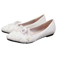 White Lace Wedding Flower Pointed Toe Slip On Flat High Heel Shoes