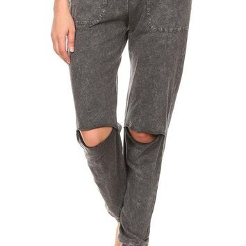 Knee Slit Pocket French Terry Pants