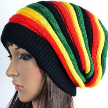 New Pom Pom Winter Hip Hop Cap Bob Marley Jamaican Rasta Reggae Multi-colour Striped Beanie Hats Mens Women Beanies Ski Knit Hat