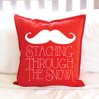 """Christmas Decor Red """"Staching Through the Snow"""" Mustache Pillow Cover"""