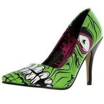 Iron Fist Zombie Stomper Women's Green High Heel Shoes - Size 5