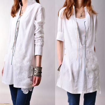 Flying flowers - organza laced artist tunic (Y3117S)