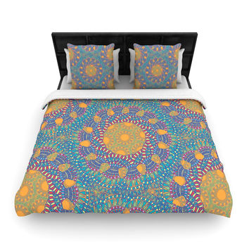 "Miranda Mol ""Prismatic Orange"" Orange Blue Abstract Woven Duvet Cover"