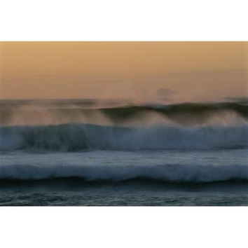 Twilight view of waves pounding the coast of South Africa