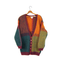 Colorful Mohair Cardigan Sweater Oversized Fuzzy Colorblock Slouchy Button Up Vneck 80s Wool Hand Knit Vintage Large