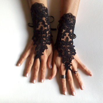 Black lace gloves french lace bridal gloves lace wedding fingerless gloves burlesque goth gothic dark fusion tribal Lolita prom party