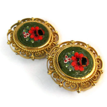 Vintage Micro Mosaic Gold Tone Filigree Clip On Earrings Red Flower Floral