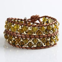 Olivine Agate And Gold Mix Wrap Bracelet