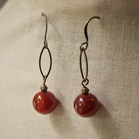 Handmade Red Agate Stone Dangle Earrings Antiqued Gold Oval Link