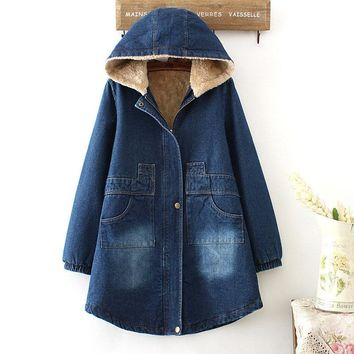 Winter Jacket Women Plus Velvet Thick Denim Jacket Hooded Women Basic Coats Cotton Jacket Female Parka Vintage Denim Coats C4980