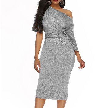 Fashion New Solid Color Short Sleeve Dress Women Gray