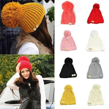 Women Winter Braided Stripe Two Buttons Crochet Bobble Hat Knitted Cap HATBD0060