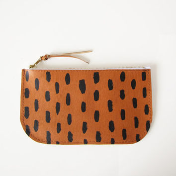 Printed Leather Pouch, Small Leather Clutch, Leather Wallet, Small clutch bag, Saffiano Leather, Real Leather, Brush strokes, Wallet